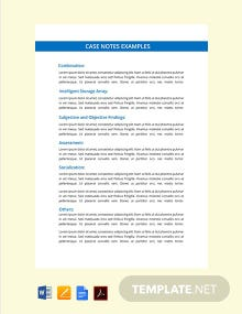 Free Case Notes Template