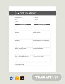 Free One Page Business Case Template