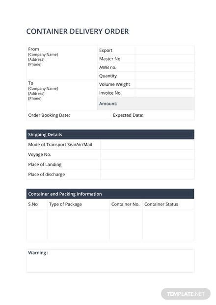 Container Delivery Order Template