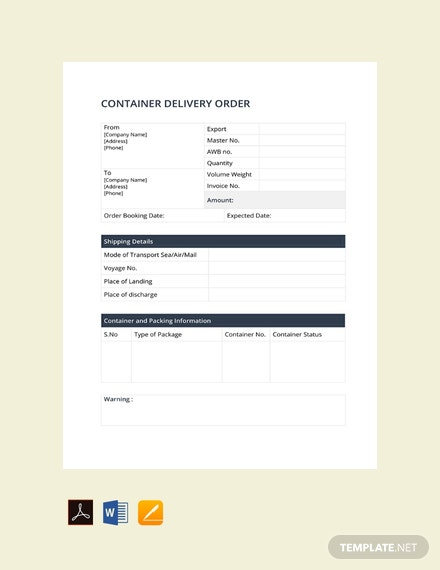 Free Container Delivery Order Template