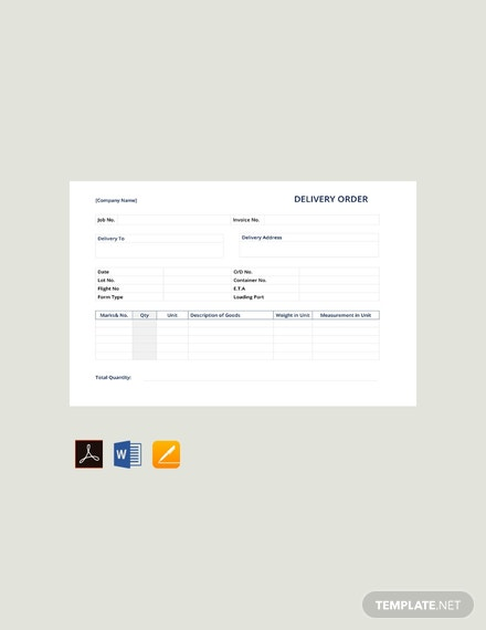 Free Simple Delivery Order Template