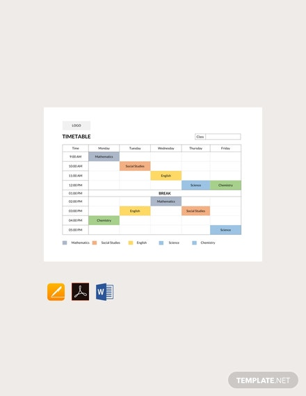 Free School Timetable Template