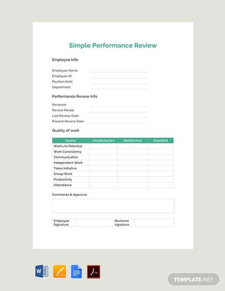 simple performance evaluation template