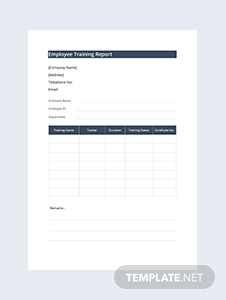 Employee Training Report Template