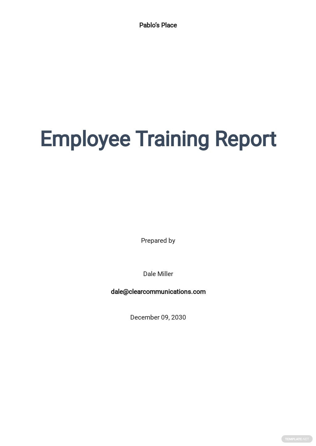 Free Employee Training Report Template