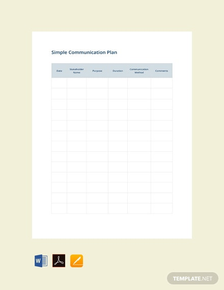 Simple Communication Plan Template