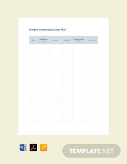 Free Simple Communication Plan Template
