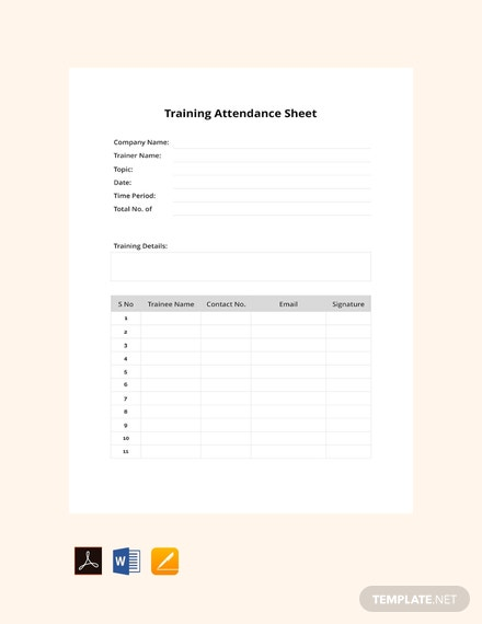 Free Training Attendance Sheet Template