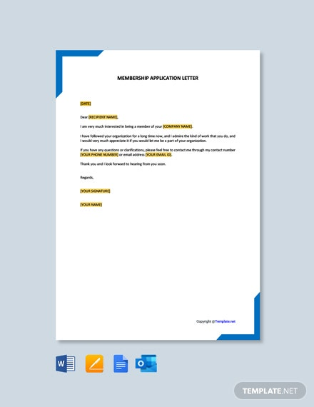 Free Membership Application Letter Template