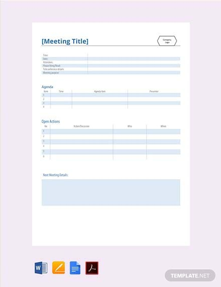 Free Practical Meeting Minute Template