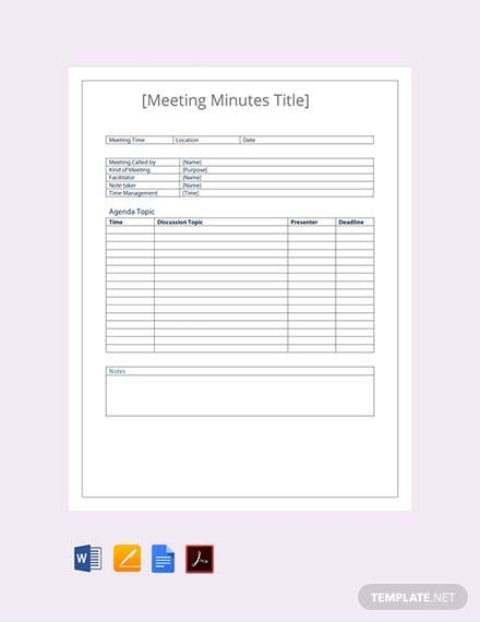 minutes for meetings template