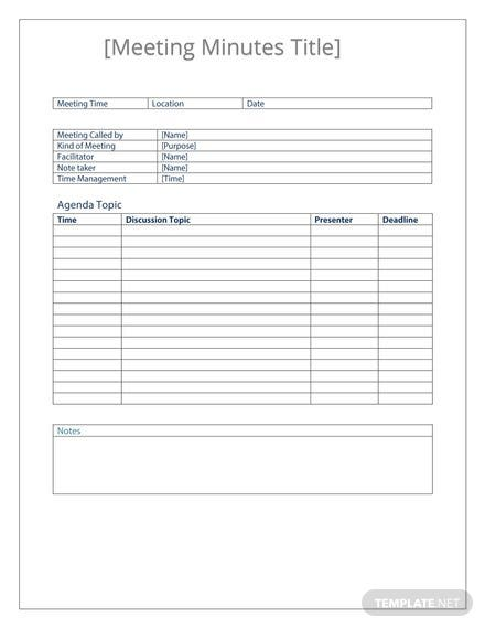 Functional Meeting Minutes Template
