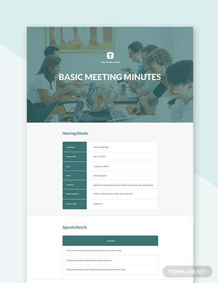 Free Basic Meeting Minutes Sample