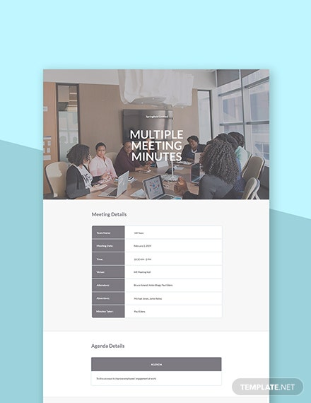 Free Multiple Meeting Minutes Template