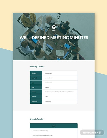 Free Well-defined Meeting Minutes Template