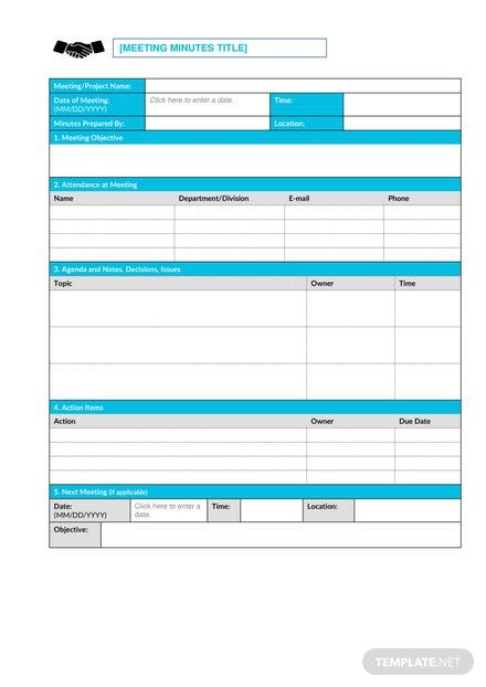 Combo Meeting Minutes Template