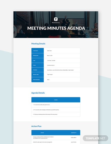 Free Meeting Minute Agenda Template
