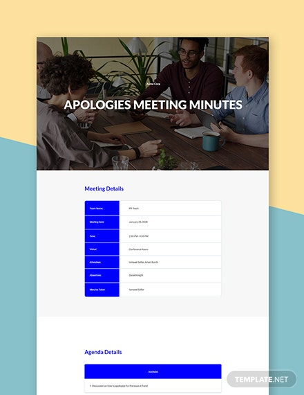 Free Apologies Meeting Minute Template