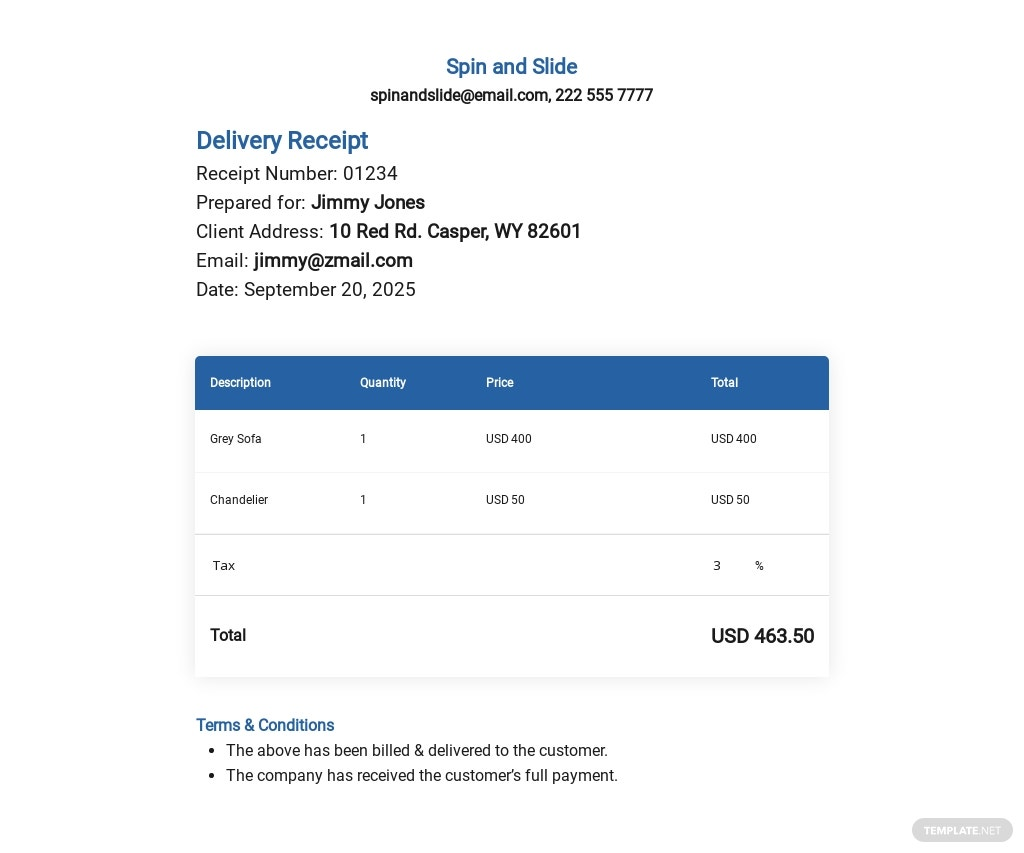 Free Delivery Receipt Note Template