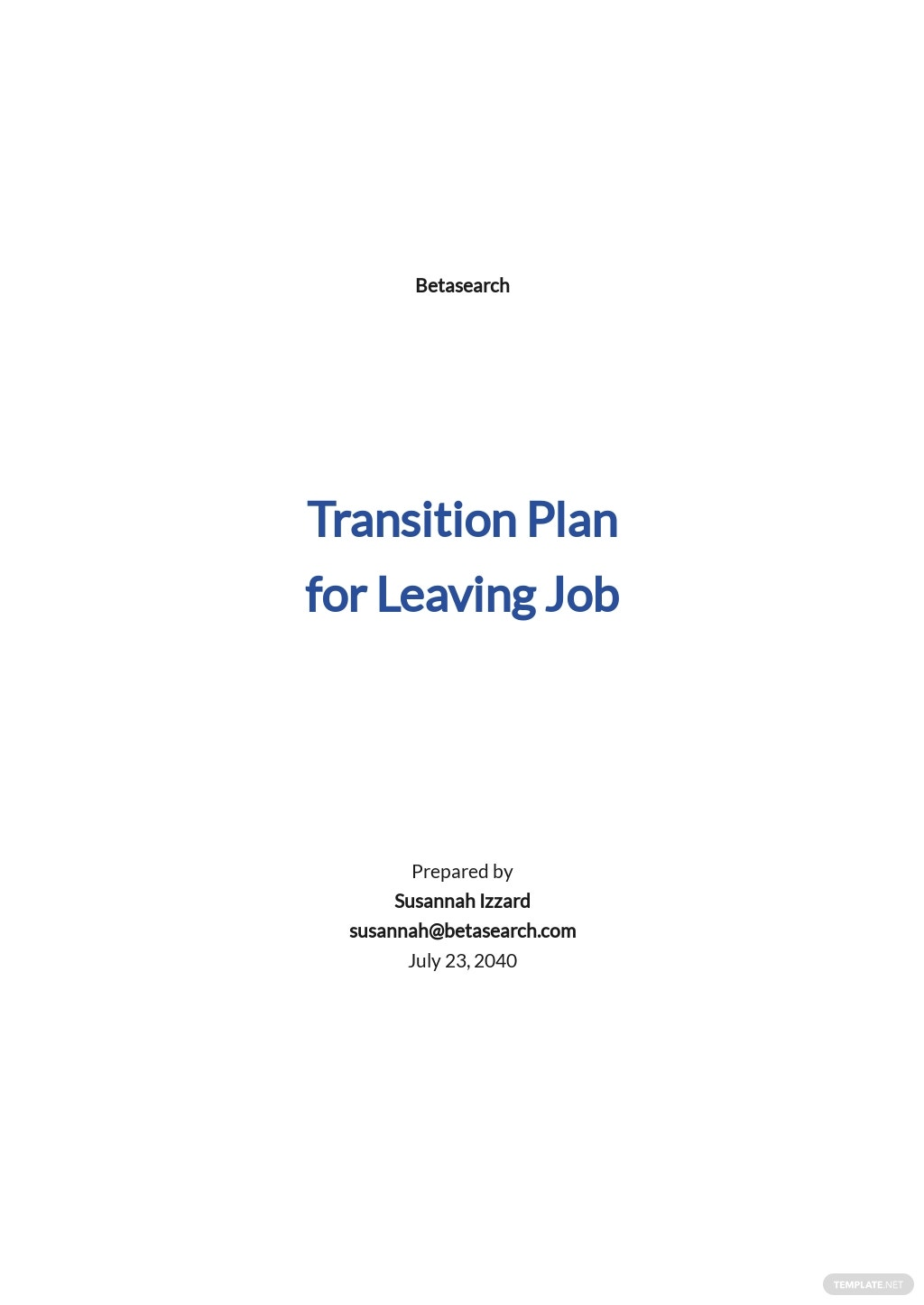 Transition Plan Template for Leaving Job Template