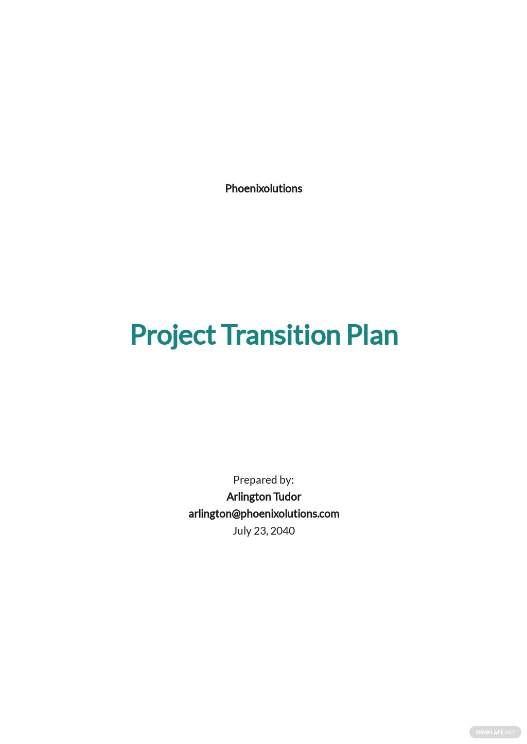 Project Transition Plan Template