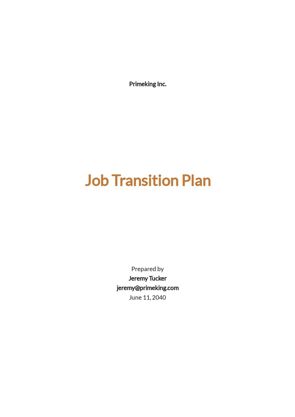 Job Transition Plan Template