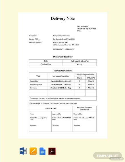 Free Sales Delivery Note Template