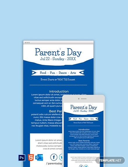 Free Parent's Day Email Newsletter