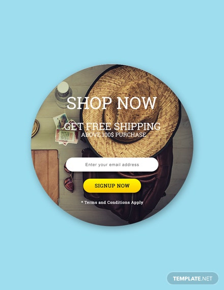 Free Website Shop Now Pop-up Template
