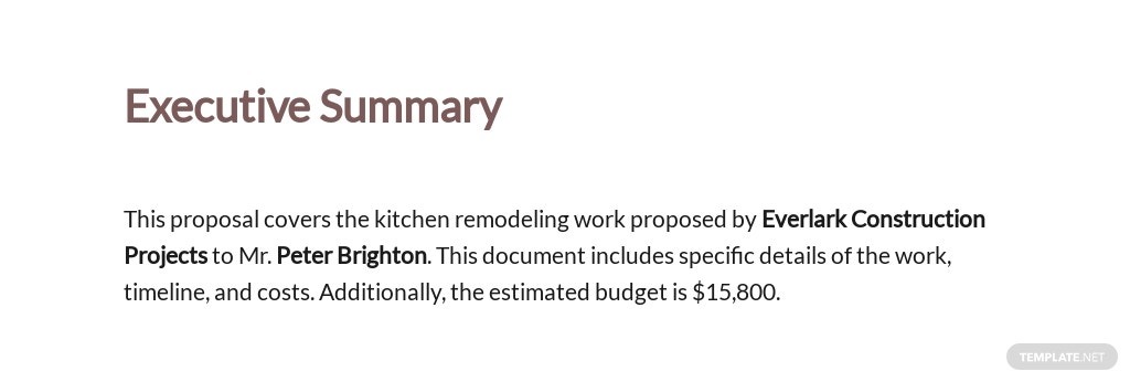 Kitchen Remodelling Budget Proposal Template [Free PDF] - Google Docs, Word, Apple Pages
