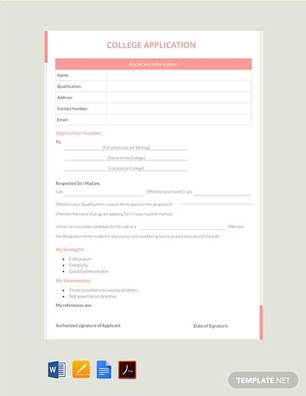 Free College Application Template