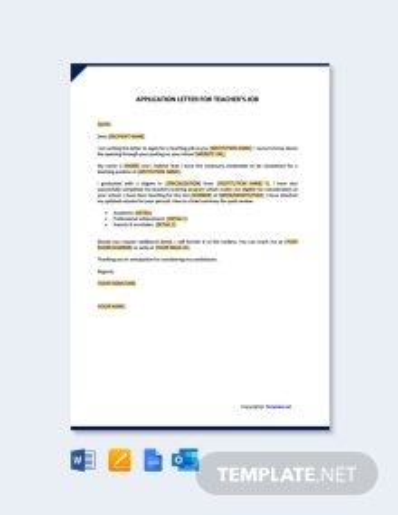 Free Application Letter for Teacher Template