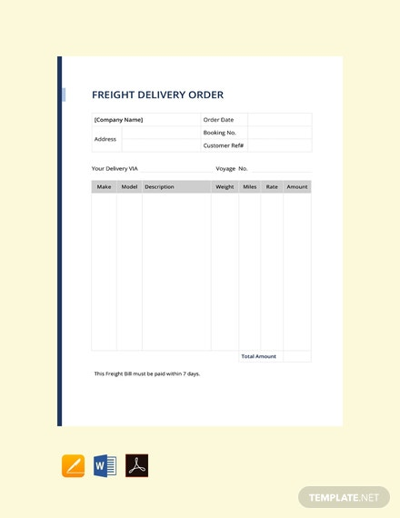 Free Freight Delivery Order Template