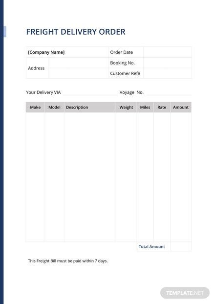 Freight Delivery Order Template