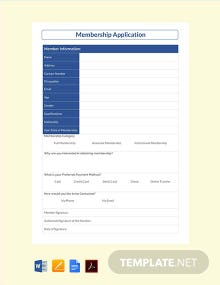 Free Membership Application Template