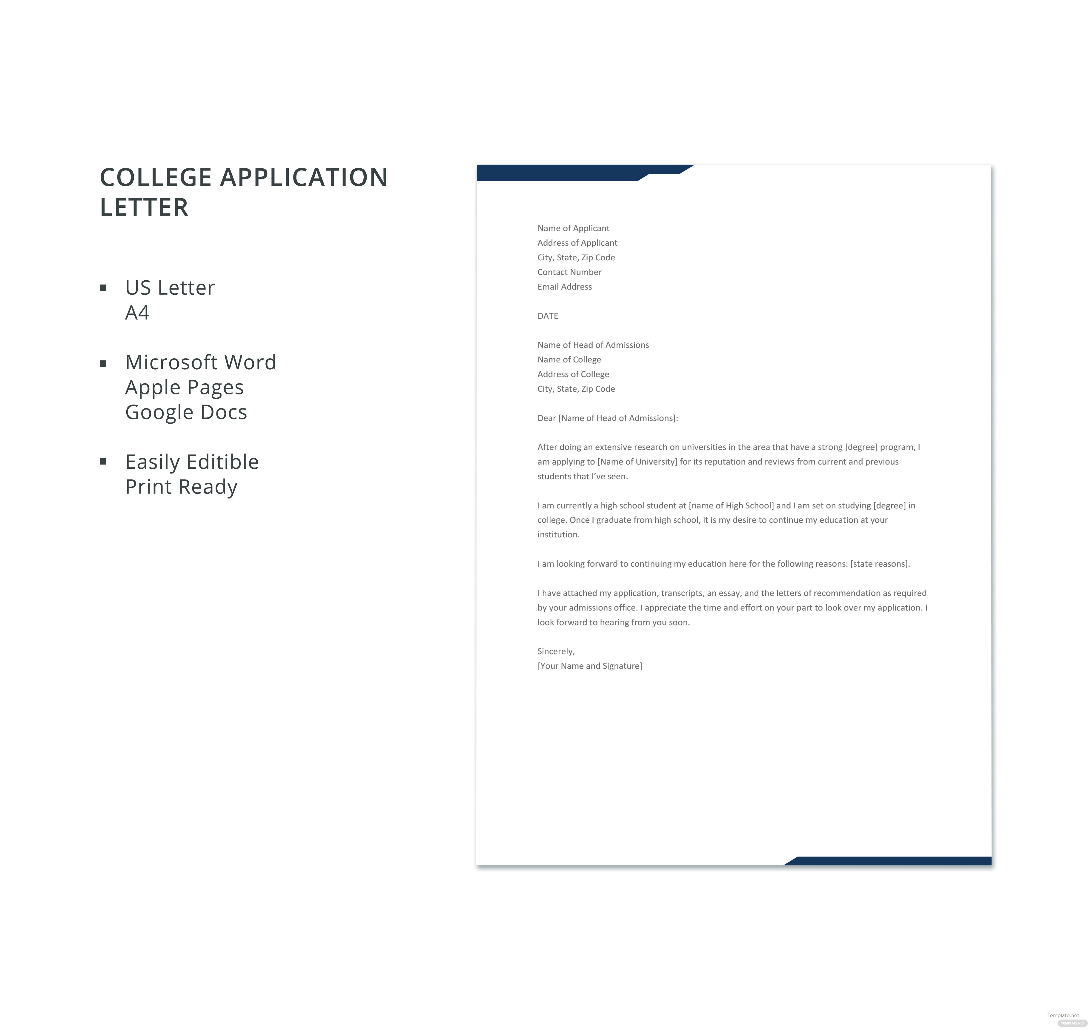 Free College Application Letter Template in Microsoft Word, Apple ...