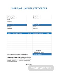 Free Shipping Line Delivery Order Template