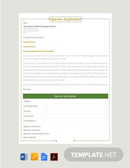 Free Sponsor Application Template