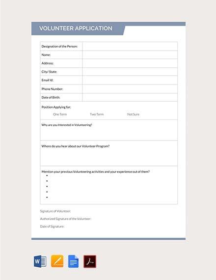 Free Volunteer Application Form Template