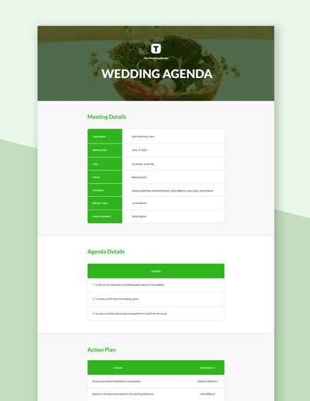 Free Wedding Agenda Template
