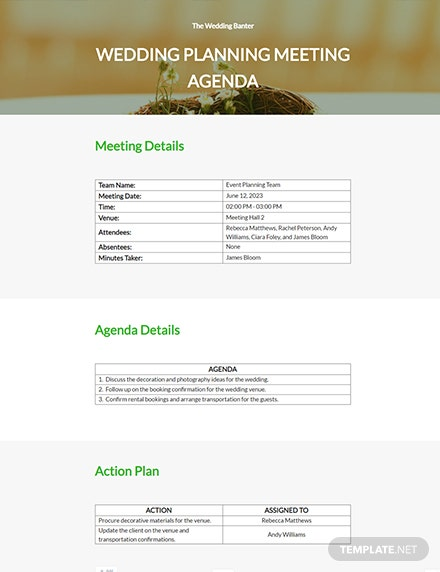 Free Wedding Agenda Template