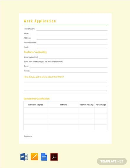 Free Work Application Template