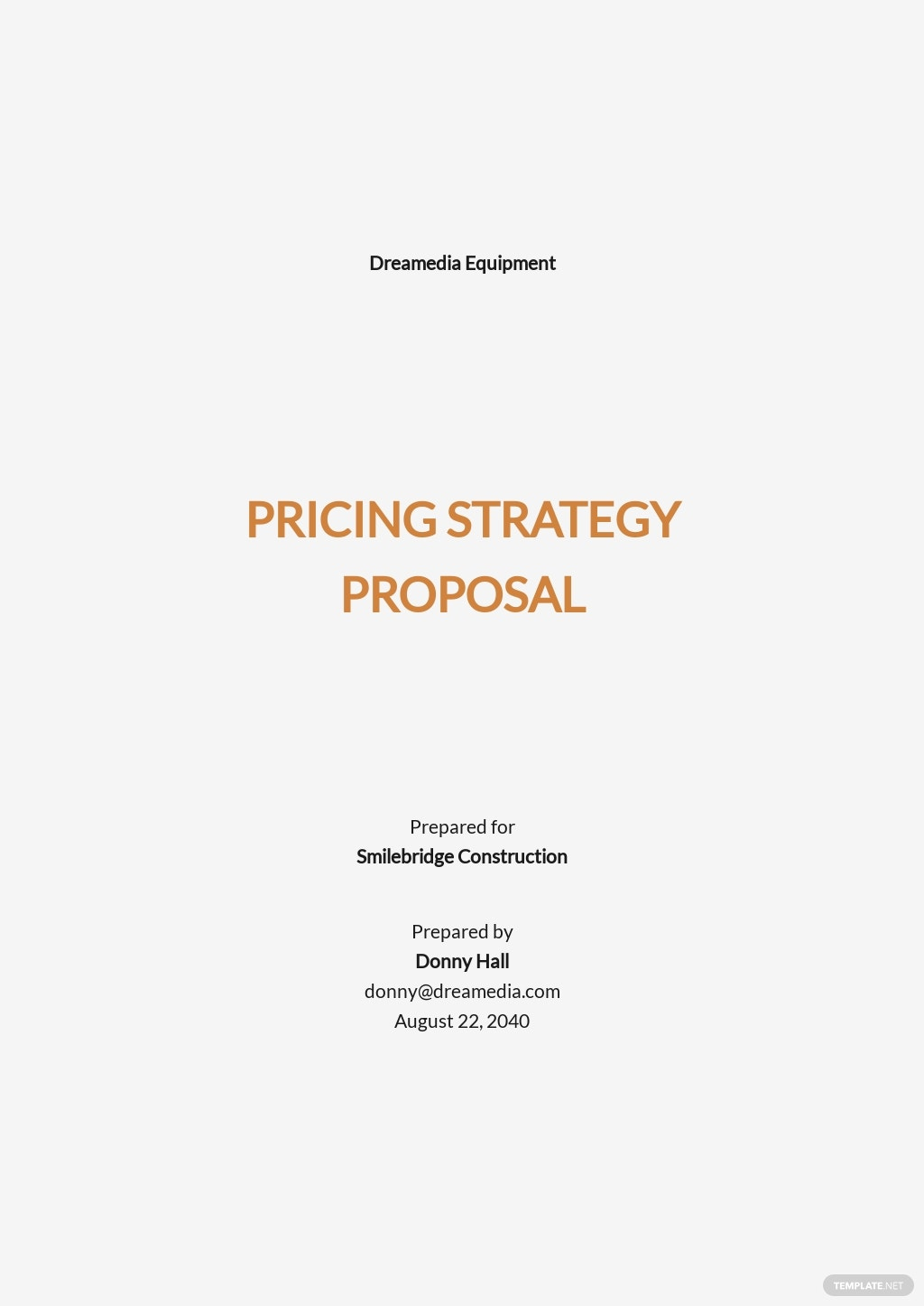 Pricing Strategy Proposal Template