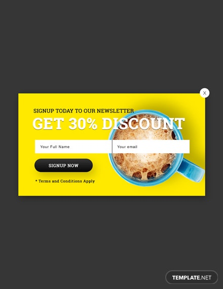 Free Website Signup Pop-up Template