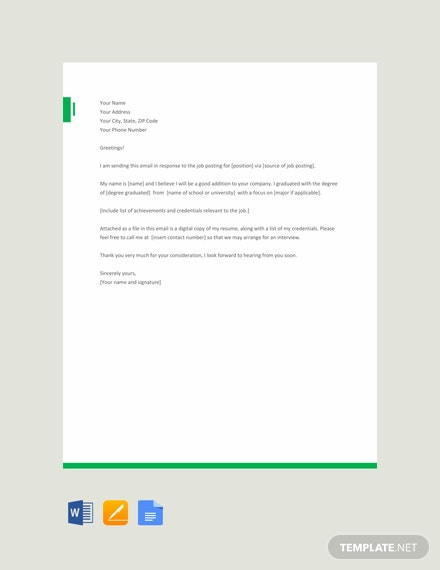 Free Email Application Letter Template