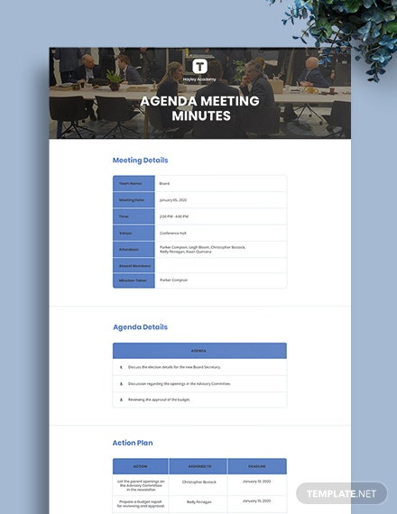 Free Agenda Meeting Minute Template