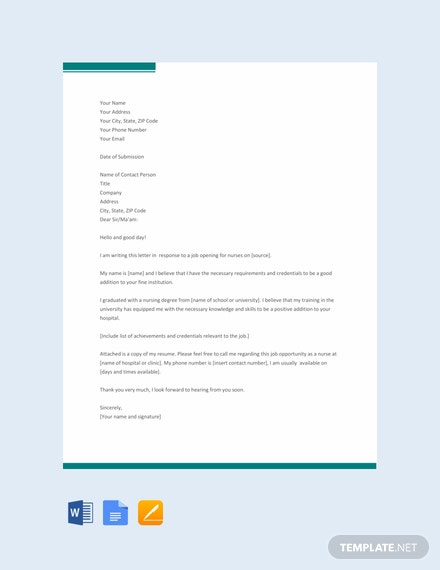 Free Nursing Application Letter Template