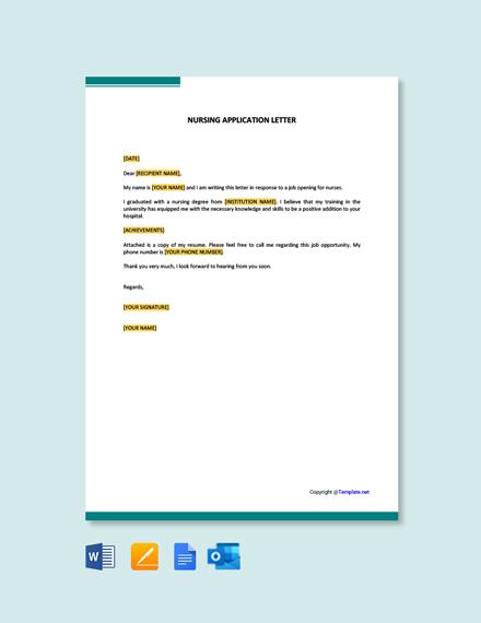 Free Nursing Application Letter Template