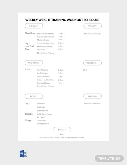 Free Weekly Weight Training Workout Schedule