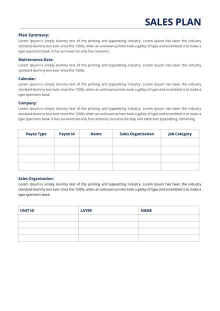 Sales Report Plan Template